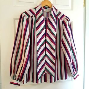 Vintage SEARS Puff Sleeve Stripe Pussy Bow Blouse